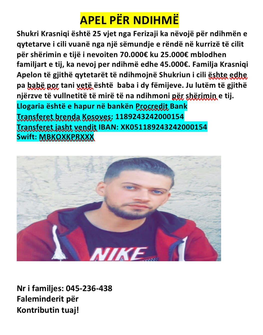 173402360 487591105886391 6771093746489100079 n1 - I riu nga Ferizaj vuan nga një sëmundje e rëndë, familjarët bëjnë thirrje për ndihmë